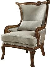 Acme 59563 Darian Accent Chair & Pillow, Light Blue Fabric & Oak