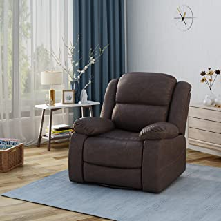 Christopher Knight Home Teresa Swivel Recliner, Dark Brown + Black