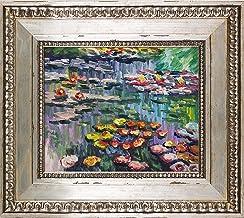 لوحة لزنابق La Pastiche (وردية) للفنان كلود مونيه مؤطر باليد على القماش، 40.64 سم × 35.56 سم