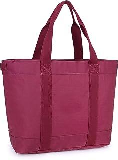 "Crest Design Water Repellent Nylon Large Lightweight Work School Travel Tote Bag Handbag fits up to 17"" Laptops (X-Large, Mulberry)"