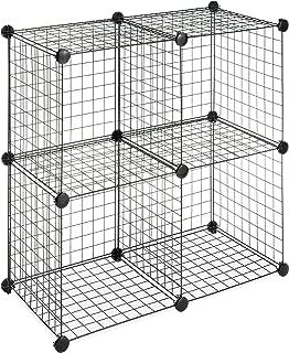 Whitmor Storage Cubes - Stackable Interlocking Wire Shelves -Black (Set of 4)