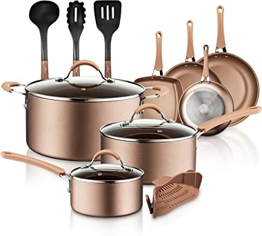 NutriChef 14-Piece Nonstick Cookware PTFE/PFOA/PFOS-Free Heat Resistant Lacquer Kitchen Ware Set w/Saucepan, Frying Pans, Cooking, Dutch Oven Pot, Lids, Utensil NCCW14S