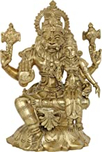 Superfine Lord Narasimha with Goddess Lakshmi (Hoysala Art) - Bronze Statue