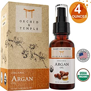 USDA Certified Organic Argan Oil 4 oz Bottle w Spray Applicator. Pure and Undiluted. Cold-Pressed, Unrefined, and Extra Virgin. For Hair, Skin, and Nails.