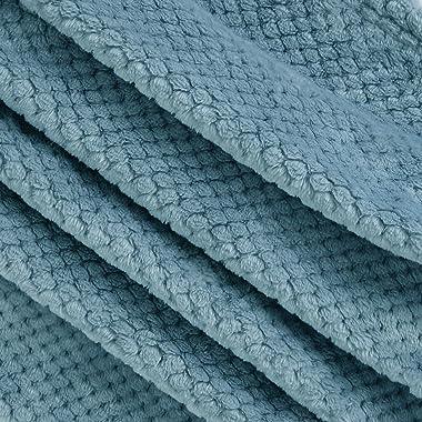 Exclusivo Mezcla Waffle Textured Soft Fleece Blanket, Large Throw Blanket(Slate Blue, 50 x 70 inches)- Cozy, Warm and Lightwe