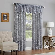 ستارة نافذة من Lorraine Home Fashions، رمادية اللون من الصفصاف، 137.76 سم × 160.96 سم
