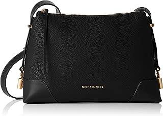Crosby Medium Pebbled Leather Messenger Bag- Black