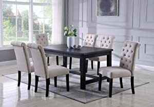 Roundhill Furniture Aneta Antique Black Finished Wood Dining Set, Table with Six Chairs, Tan