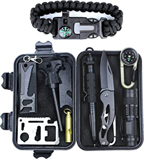 HSYTEK Survival Gear Kit 11 in 1, Professional Outdoor Emergency Survival Kit with Tactical Pen|Bracelet|Temperature Compa...