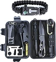 HSYTEK Survival Gear Kit 11 in 1, Professional Outdoor Emergency Survival Kit with Tactical Pen|Bracelet|Temperature Compa...