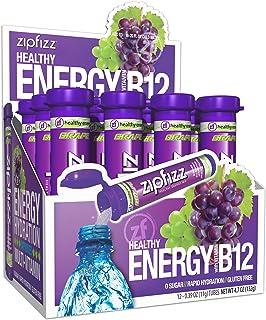 Zipfizz Healthy Energy Drink Mix, Grape, 12 Count