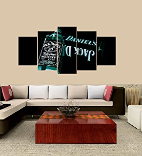 PEACOCK JEWELS Premium Quality Canvas Printed Wall Art Poster 5 Pieces / 5 Pannel Wall Decor Jack Daniels Alcohol Painting, Home Decor Pictures - Framed