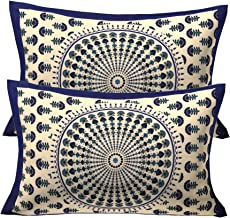 RajasthaniKart ® 100% Cotton Pillow Cover (Set of 2) -Ethnic Print, Multicolor (Blue)