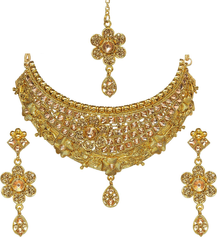 Bindhani Wedding Traditional Bridesmaid Ethnic Bridal Bollywood Golden Toned Kundan Necklace Earrings Tikka Tika Indian Choker Jewelry Set for Women