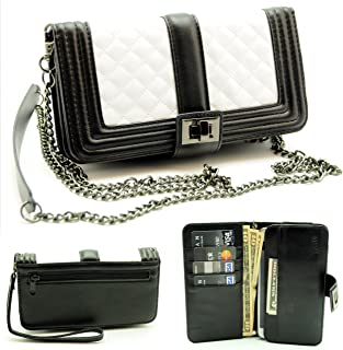 ZZYBIA Black and White Crossbody/Wristlet Clutch 2 Way Coin Zip Mobile Case Wallet Card Holder with Detechable Long Chain for Apple iPhone 6 Plus/Universal fit Most Smartphones up to 6.5