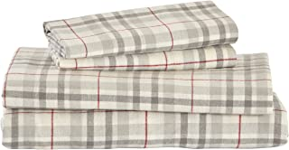 Stone & Beam Rustic Windowpane 100% Cotton Flannel Bed Sheet Set, Full, Grey and Red