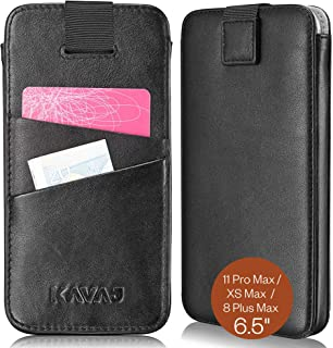 """KAVAJ Case Compatible With Apple iPhone 11 Pro Max / XS Max / 8 Plus Max 6.5"""" Leather - Miami - Black Wallet Cover Phone C..."""