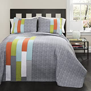 Lush Decor Shelly Stripe Quilt | Modern Geometric Pattern Reversible 3 Piece Bedding Set-King-Gray and Orange