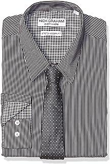 Nick Graham Men's Stretch Modern Fit Stripe Dress Shirt and Dot Grid Tie Set