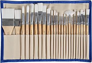 Paint Brushes Set with case Professional Wood Handle with Case 24pcs - Acrylic, Watercolor, Gouache, Oil - Models, Airplane Kits, Ink- Artist Quality Supplies