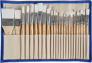 CONDA Paint Brushes Set of 24 Different Shapes Ergonomic Professional Wood Handles with Organizing Case for Acrylic Oil Wa...