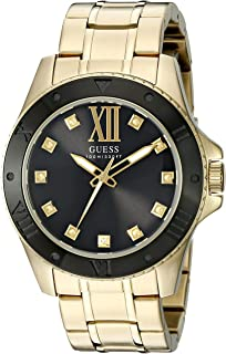 GUESS Men's U0721G2 Strong Gold-Tone Watch with Black Dial and Diamond Markers