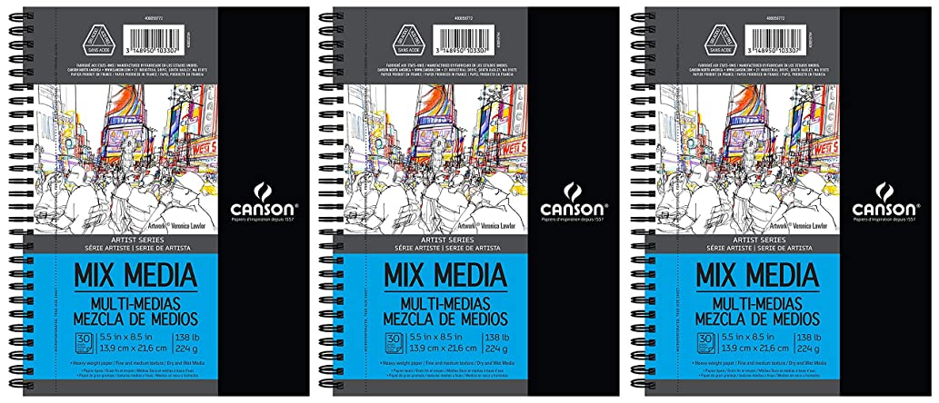 3-Pack - Canson Artist Series Mix Media Paper Pad for Wet or Dry Media, Dual Surface- Fine or Medium, Side Wire Bound, 138 Pound, 5.5 x 8.5 inch, 30 Sheets Each