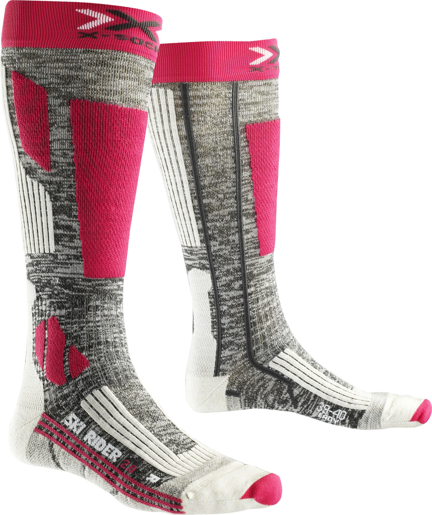 X-Socks Damen SKI Rider 2.0 Lady Socken, Grey Melange/Fuchsia, 39/40