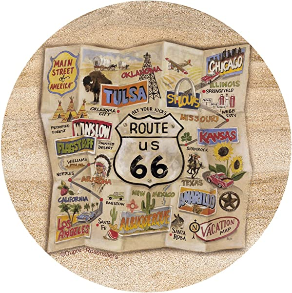 Thirstystone Drink Coaster Set Route 66 Map