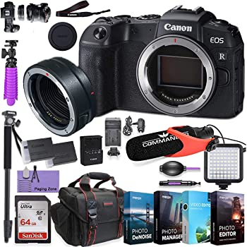 CanonEOS RP Mirrorless Digital Camera (Body Only) andMount Adapter EF-EOS R kit Bundled w/Deluxe Accessories Like 4-Pack Photo Editing Software