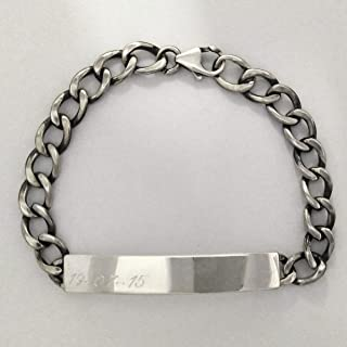 ViMon gioielli, Bracciale in argento massiccio 925, catena grumetta e targhetta con incisione personalizzata gratuita,lung...