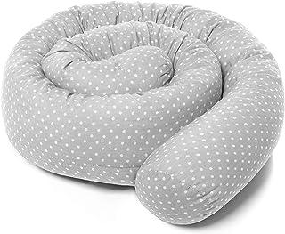 Fillikid Bettschlange Baby Nestchen 190 cm - Nestchenschlange für Beistellbett und Babybett/Bezug: 100% Baumwolle, maschinenwaschbar - Punkte Grau Weiß