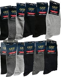 GED, Calcetines de Hombre, Algodón, Calcetines Clásicos, Cómodos y para vestir en Trabajo, 12 Pares de Negro, Gris Claro, Gris Oscuro, Azul Oscuro