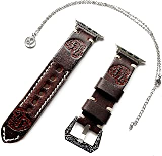 NICKSTON Leo Zodiac Band Set Compatible with Apple Watch 38mm 40mm 42mm 44mm iWatch 1 2 3 4 Series Brown Leather Embossed Strap and 25