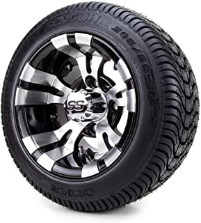 """10"""" Vampire Machined Black Golf Cart Wheels and Low Profile Tires Combo Set of 4"""