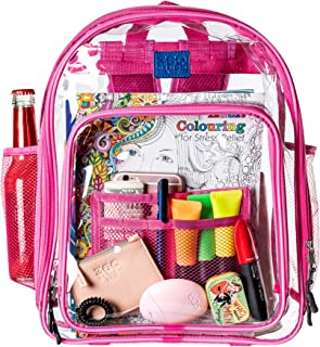 Clear Backpacks for School, Transparent Plastic Backpack for Travel, Clear Bag for Work with Pockets and Adjustable Padded Straps, See Through Bookbag and Matching Pencil Case - Pink
