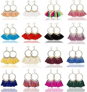 9-16 Pairs Tassel Hoop Earrings for Women Girls Dangle Drop Earrings Fan Shape Bohemian Earrings Set
