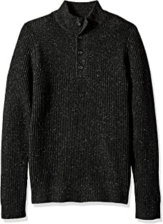 Van Heusen Men's Long Sleeve Texture Block Button Mock Neck Soft Sweater