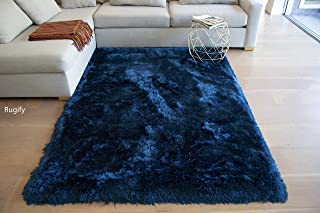 LA Shag Shaggy Fluffy Large Furry Rectangular Solid Patterned Plush Fur Large Fuzzy Floor Soft Plain Modern Pile 5-Feet-by-7-Feet Polyester Made Area Rug Carpet Rug Navy Blue Color