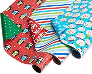 American Greetings Reversible Christmas Wrapping Paper, Stripes, Blue Snowmen and Red Penguins (3 Pack, 120 sq. ft.)