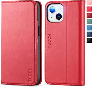 TUCCH Case for iPhone 13 Mini 5G, PU Leather Flip Wallet Kickstand Folio Case with [3 Credit Card Slot] Notebook Cover [Soft TPU Protective Interior Case] Compatible with iPhone 13 Mini 5.4-inch, Red