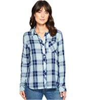Denim and Chambray Plaid One-Pocket Luxe Double Cloth Shirt