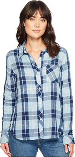 Dylan by True Grit - Denim and Chambray Plaid One-Pocket Luxe Double Cloth Shirt