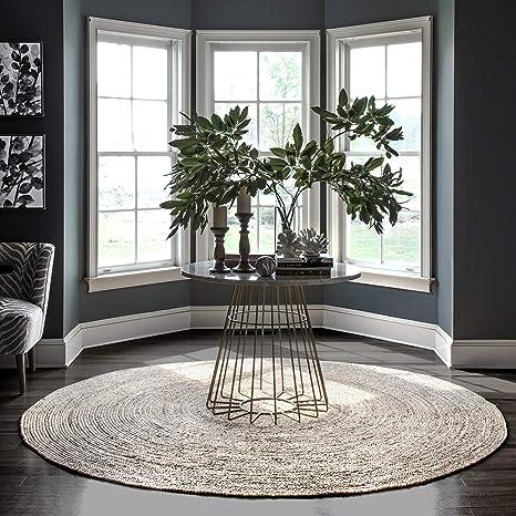 Amazon Com Nuloom Rigo Hand Woven Jute Area Rug 8 Round Natural Furniture Decor