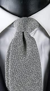 Corbata de hombre de seda y algodón micro fantasía azul y blanco ...