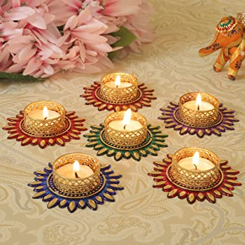 TIED RIBBONS Christmas Candle Holder Set - Floral Tealight Candle Holders Set Christmas Decoration Item (Pack of 6)