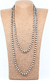 Lovely Bead Handmade Smooth Double Knotted Silver Navajo Pearl Necklace (60 Inches, 8mm)