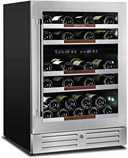 Sipmore Wine Cooler Refrigerator 24'' Dual Zone 37 Multi Sized Bottle Built-in or Freestanding with Seamless Stainless Steel and Smart Temperature Memory System with Stage LED Design