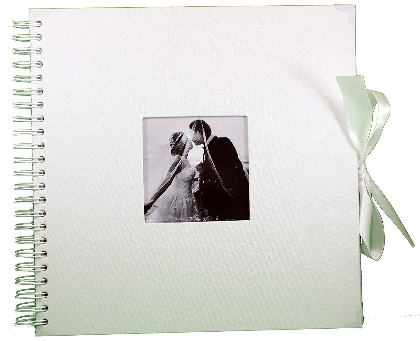 White Scrapbook Wedding Photo Album - 80 DIY 10x10 Pages with Cover Photo Pocket and Corner Protectors - Silk Ribbon - Craft Paper for Guest Book, Honeymoon, Anniversary, or Valentine's Day Gift