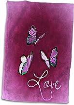 3dRose Love Style - Toalla con diseño de Mariposa y Fondo Rosa, Multicolor, 38 x 55 cm